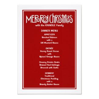 Merry Christmas white Dinner Menu 5x7 Paper Invitation Card