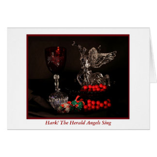 Merry Christmas with herald angel trumpeting Greeting Card