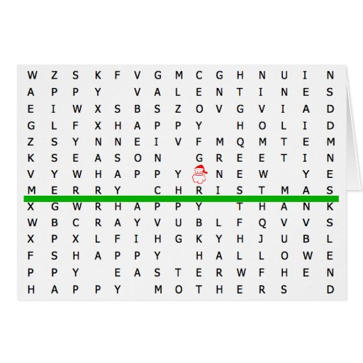 Merry Christmas Word Search Puzzle Card