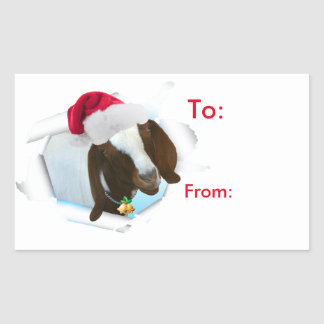 Merry Country Christmas Goat Santa Hat Gift Tag Rectangle Sticker