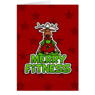 Merry Fitness - Yoga - Reindeer in Lotus Posture Greeting Card