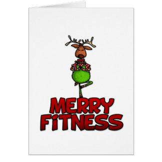 Merry Fitness - Yoga - Reindeer in Tree Posture Greeting Cards