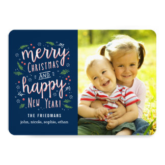 Merry Happy Editable Colour Holiday Photo Cards