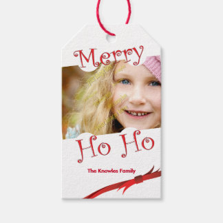 Merry Ho Ho Red Ribbon Personalized Photo Template