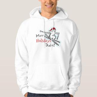 Merry Holidays Dudes fun santa skier hoodie
