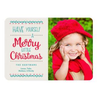 Merry Little Christmas Photo Card | Red Aqua 13 Cm X 18 Cm Invitation Card