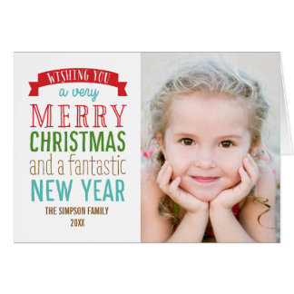 Merry Message Holiday Photo Cards - White