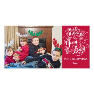 Merry n Bright Holidays Modern Photo Christmas Photo Card Template