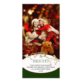 Merry n Bright Holidays Modern Photo Christmas Photo Card Template