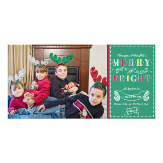 Merry n Bright Holidays Modern Photo Christmas Photo Greeting Card