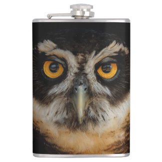 Mesmerizing Golden Eyes of a Spectacled Owl Flasks