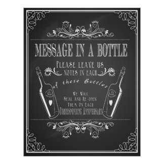 """Message in a bottle"" wedding guest book Poster"