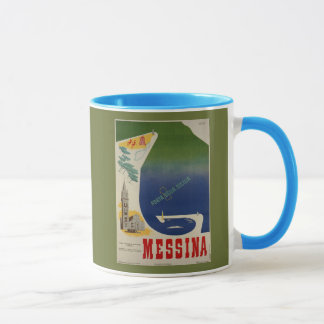 Messina port of Sicily vintage Italian travel ad Mug