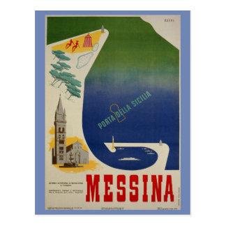 Messina port of Sicily vintage Italian travel ad Postcard