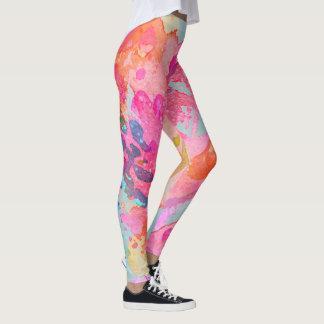 Messy Fuschia Watercolor Leggings