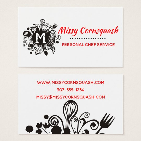 Messy utensils herbs chef catering business card