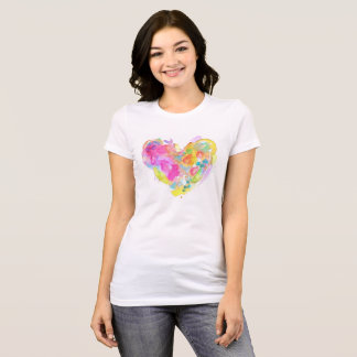 Messy Watercolor Heart Tee - Yellow