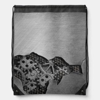 Metal background with mechanical damage drawstring bag