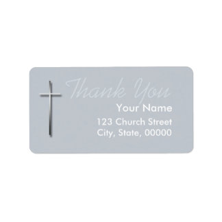 Metal Christian Cross Thank You Label 2