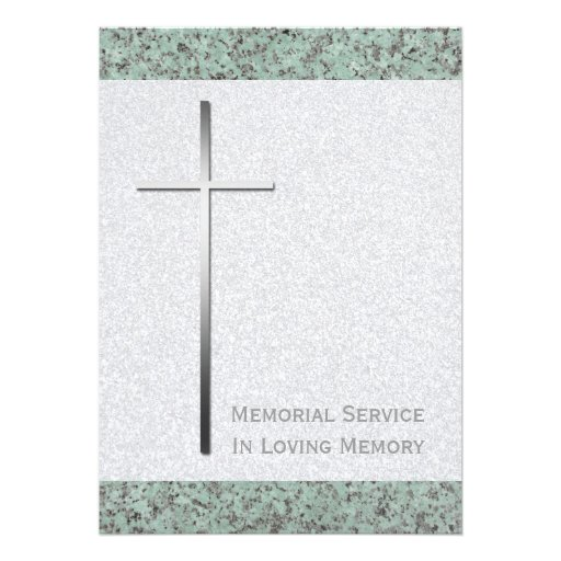 Metal Cross / Stone Funeral Announcement Invitations