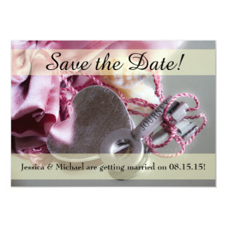 Metal Journey Key Save the Date Card w/ Envelope