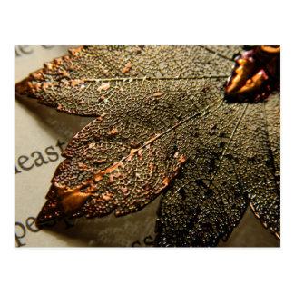 Metal leaf postcard