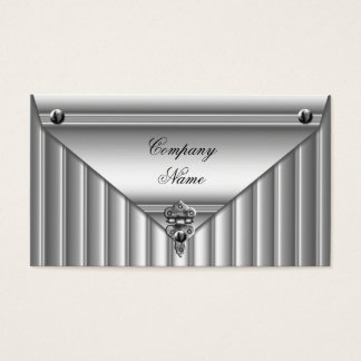 Metal Look White Silver Elegant Profile Business Card