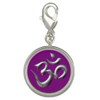 Metal Om Symbol Round Charm, Silver Plated