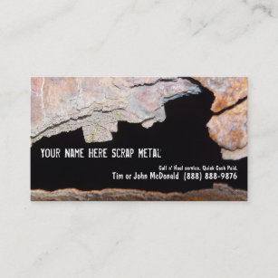Metal recycling business cards zazzle nz metal recycler scrap rusted pipe business card reheart Choice Image