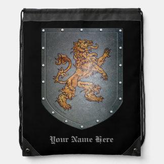 Metal Shield Lion Black Drawstring Bag