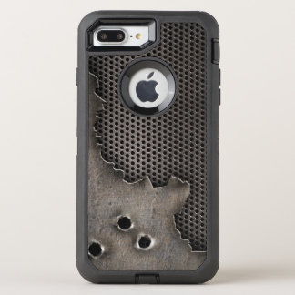 Metal with bullet holes background OtterBox defender iPhone 7 plus case