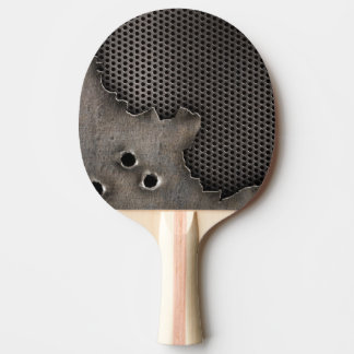 Metal with bullet holes background ping pong paddle