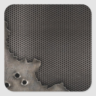Metal with bullet holes background square sticker