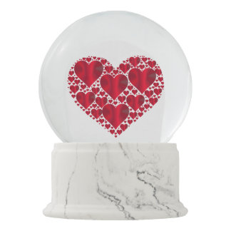 metalic red hearts snow globes