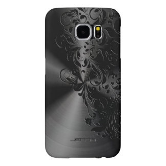 Metallic Black Stainless Steel & Floral Lace Samsung Galaxy S6 Cases