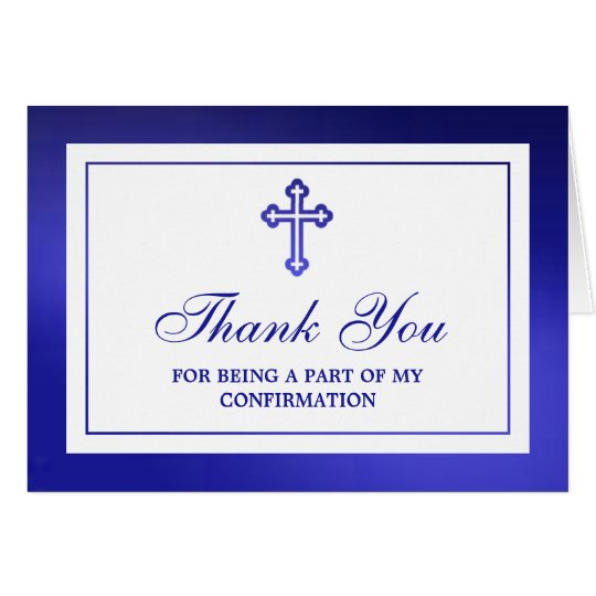 Metallic Blue Cross Holy Communion Or Confirmation Card