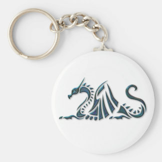 Metallic Blue Sea Dragon Basic Round Button Key Ring
