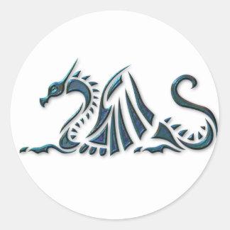 Metallic Blue Sea Dragon Round Sticker