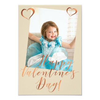 Metallic copper Valentine's Day photo design Card