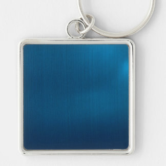 Metallic Deep Ocean Blue Silver-Colored Square Key Ring