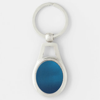 Metallic Deep Ocean Blue Silver-Colored Oval Key Ring