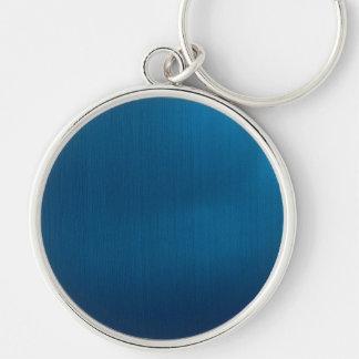 Metallic Deep Ocean Blue Silver-Colored Round Key Ring