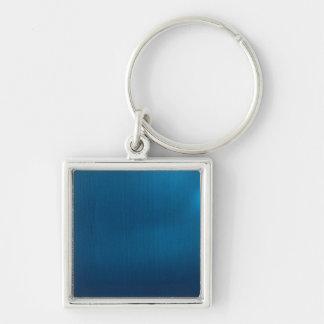 Metallic Deep Ocean Blue Silver-Colored Square Key Ring