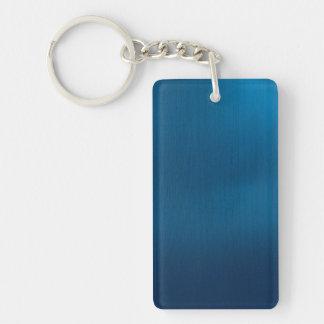 Metallic Deep Ocean Blue Single-Sided Rectangular Acrylic Key Ring