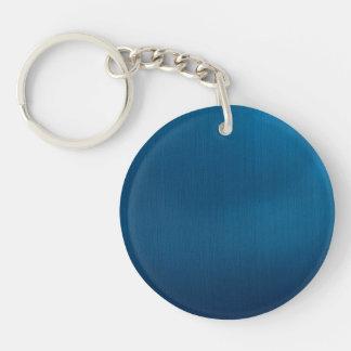 Metallic Deep Ocean Blue Single-Sided Round Acrylic Key Ring