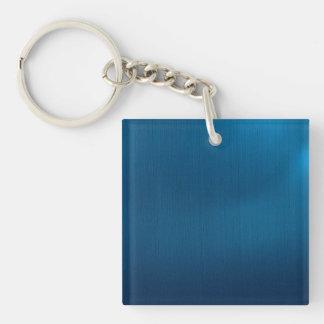 Metallic Deep Ocean Blue Single-Sided Square Acrylic Key Ring