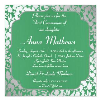 Metallic Emerald Green First Communion Invitation