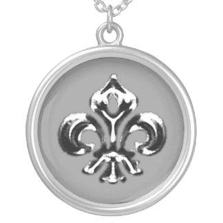 Metallic Fleur de lis (Silver) Silver Plated Necklace