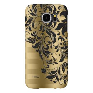Metallic Gold Stripes Pattern & Black Lace Samsung Galaxy S6 Cases