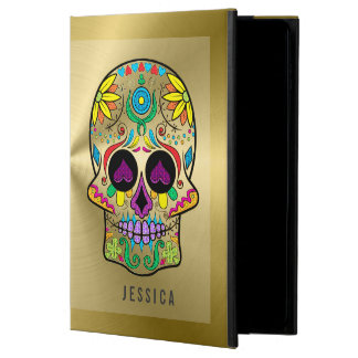 Metallic Gold With Colourful Sugar Skull Powis iPad Air 2 Case